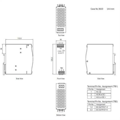 Hutschienen Netzteil 120W 12V 10A ; MeanWell NDR-120-12 ; DIN-Rail Trafo