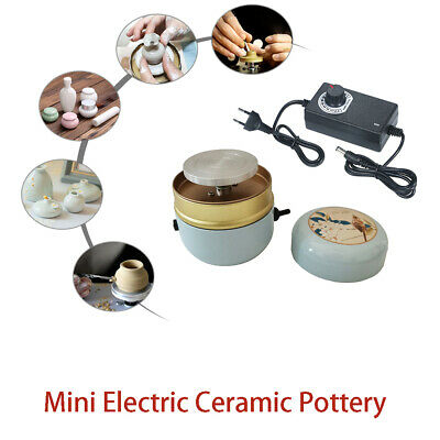 Energy Saving Mini Electric Pottery Wheel Machine for DIY Ceramic Art Craft Compact Pottery Tool with Tray 0-1500RPM Adjustable Speed Low Noise Stable Rotating Speed
