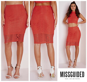 0fbbce42dc0 Image is loading MISSGUIDED-LACE-BODYCON-PENCIL-SKIRT-Sz-4-UK-