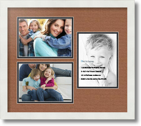 "ArtToFrames Collage Mat Picture Photo Frame 3 5x7/"" Openings in Satin White 390"