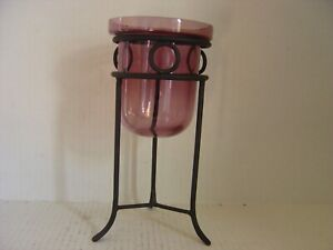 Amethyst Glass Candle Holder In Metal Stand 10 High Ebay