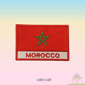 Morocco National Flag With Name Embroidered Iron On Patch Sew On Badge Applique
