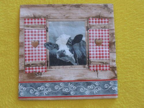10 serviettes almblick fenêtre Perspective Vache Bois Serviettes technique Paysage Co