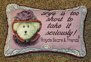 BOYDS-Osos-MS-ROUGE-chapeau-Life-is-too-short-Tapiz-Palabra-Almohada