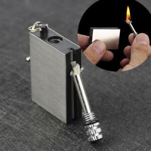 Permanent-Metall-Match-Box-Feuerzeug-Zigarette-Camping-Schluesselanhaenger-Neuheit