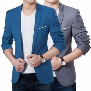 Stylish-Men-039-s-Casual-Slim-Fit-Formal-One-Button-Suit-Blazer-Coat-Jacket-Tops
