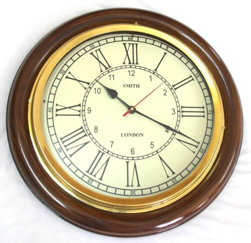 Antique Vintage Brass /& Wooden 12 inch Wall Clock smith london A Vintage Decor