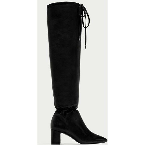 ZARA 100% Gathered Leather High Heel Boots with Gathered 100% Detail US5 EU35 b6745f