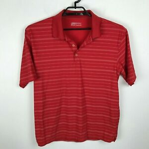 Nike-Golf-Polo-Shirt-Size-M-Red-White-Striped-Short-Sleeve-Mens-Polyester-DriFit