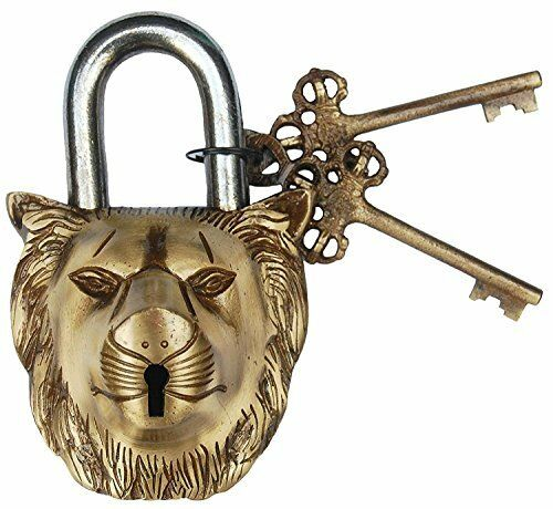 Lock with Key Brass Made 5044 ANTIQUE Style LION Type Padlock