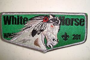 OA-WHITE-HORSE-LODGE-201-SHAWNEE-TRAILS-COUNCIL-SCOUT-PATCH-GREEN-SERVICE-FLAP