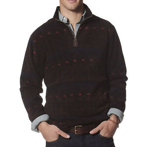 New-Men-039-s-Chaps-By-Ralph-Lauren-Microfleece-Quarter-Zip-Pullover-Brown-MSRP-70