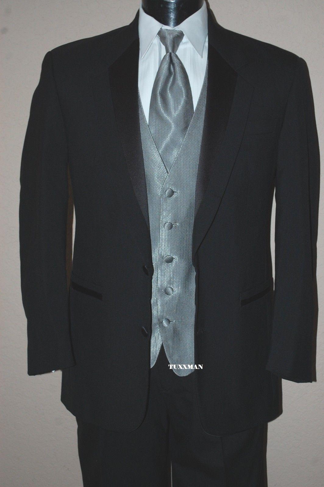 40 R Black 2 button Notch Tuxedo Wool Coat Pants Shirt Tie Vest Cufflinks Studs