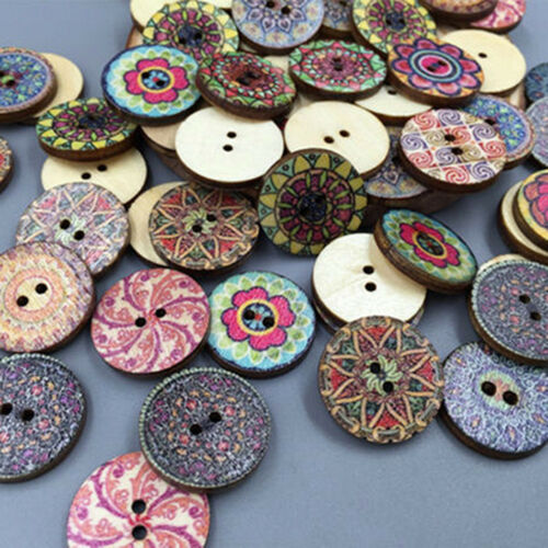 50Pcs//lot Flower Picture Wood 2 Holes Button Mixed Color Apparel Sewing DIY Hot