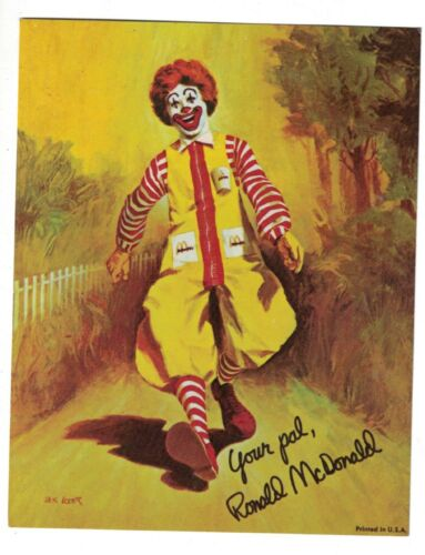 1960s-70s Ronald McDonald Signed Print un-used NOS