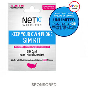 *PreOrder* Net10 3-Month 5G/4G LTE Prepaid Plans + SIM Card Kit