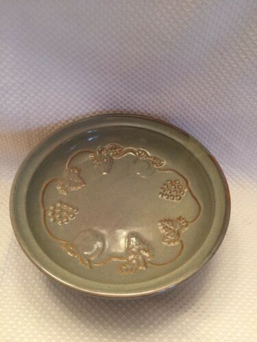 Dolgencorp Blue Brown Vines Pottery Stone Round Footed Serving Bowl Dish RARE