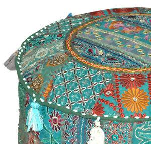 Boho-Gypsy-Ottoman-pouf-chair-Patchwork-pouf-HANDMADE-Ethnic-Pouffe-Diwali-Decor