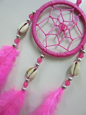 Bright Nylon Pink Shell & Silver Beads 6cm Web Dream Catcher 32cm Total Length