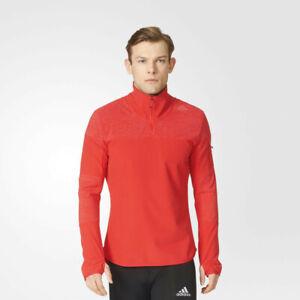 adidas-Mens-Supernova-Half-Zip-Running-Top-Red-Sports-Reflective