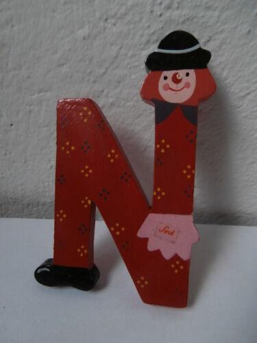 *Lettera N alfabeto legno SEVI pagliaccio letter alphabet wooden clown lettere*