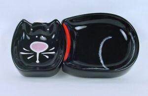 Black-Tuxedo-Kitty-Adorable-Cat-2-Piece-Ceramic-Pet-Dish-Bowl-Wet-Dry-Food-NIB
