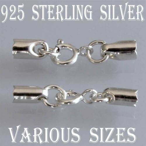 Set of .925 Sterling Silver Chain Cord End Caps With Integral Bolt Ring Clasp