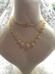 1930s-Quartz-Necklace-Bovine-Bone-Clasp-Vintage-Retro-Jewelry-Jewellery-Old