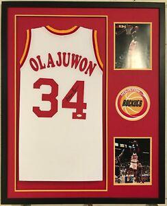 59ba99a0f Image is loading Hakeem-Olajuwon-Autographed-Custom-Framed-Houston-Rockets -White-