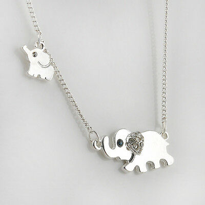 Stylish Elephant Family Stroll Women Crystal Chain Necklace Pendant Jewelry TR16