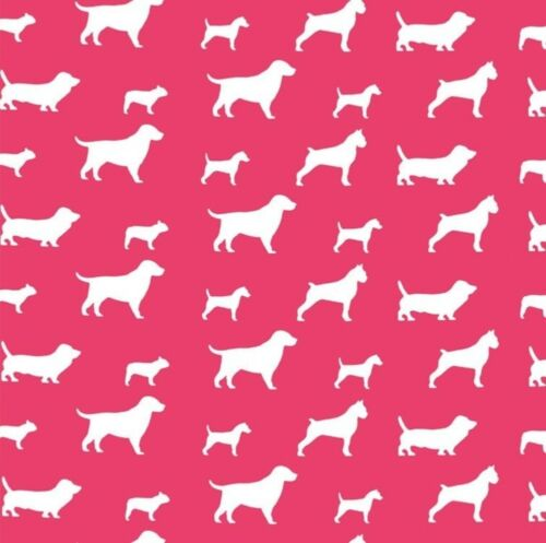 Discount Fabric Premier Prints Best Friend Candy Pink and White Dogs PR22