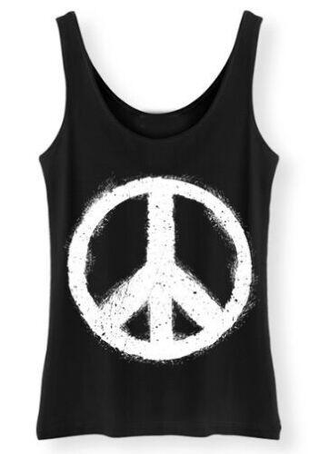 Frieden Tank Top Siebdruck Damen Hippy Grunge Weste Retro Harmonie