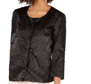 Alfani Women's Jacket Black Size Large L Shimmer Textured Button Down $109 #092