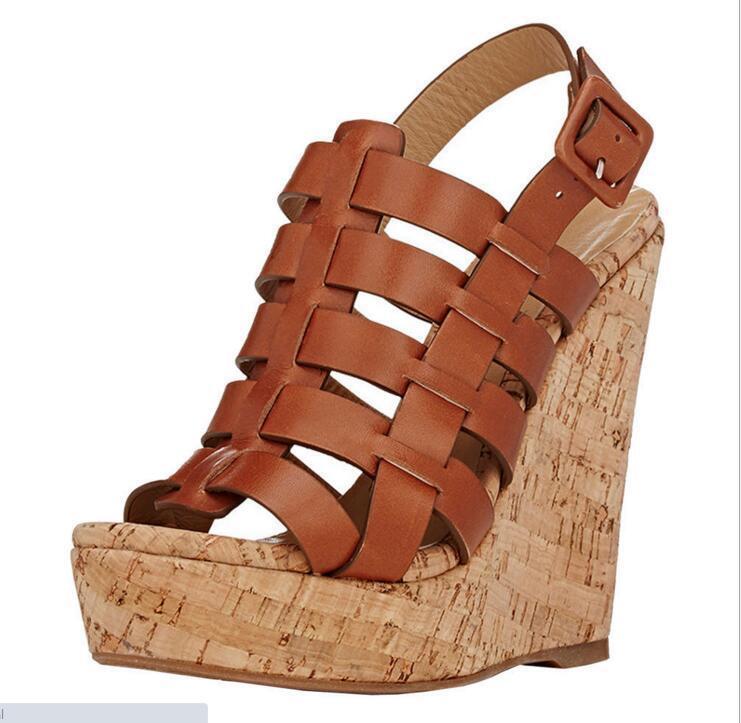 Mujeres Tejido cuña de plataforma Sandalias de tacón alto Súper Peep Toe Charol Zapato de correa