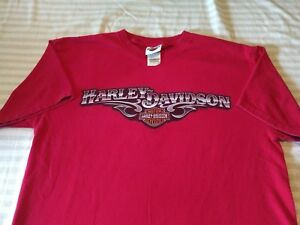 buckminns d & d xenia ohio harley davidson size large t shirt red