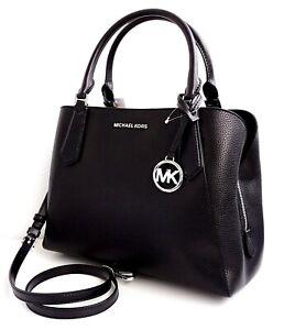 Details about Michael Kors Bag Handbag Kimberly LG Satchel Leather Black Silver New show original title