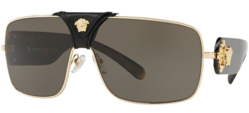 NEW Genuine VERSACE SQUARED BAROQUE Black Gold Brown Sunglasses VE 2207Q 10023