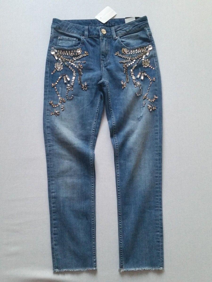 Hallhuber jeans con glitzersteinen cropped cropped cropped bluDENIM tg. 34 uk6neu 1987a6