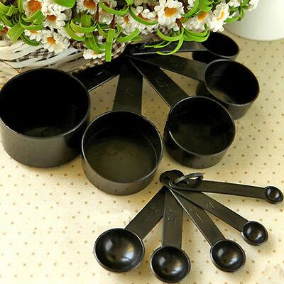 10Pcs Black Plastic Measuring Spoons Cups Set Tools For Baking Coffee Tea UL