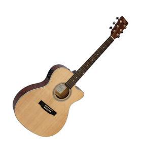 Electro Acoustic Guitar Small Body Cutaway Matt Natural Finish SX Model 3553CE