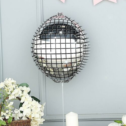"SILVER 13/"" wide Disco Ball Orb Mylar Foil Balloon Party Wedding Decorations Sale"