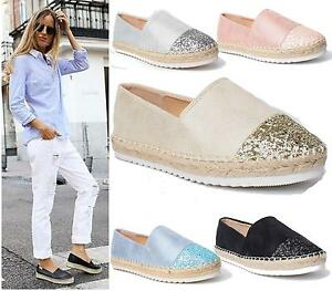 7e37541a996e Image is loading LADIES-WOMENS-ESPADRILLES -FASHION-SKATER-RUBBER-SOLE-TRAINERS-