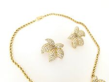 Rare Vintage Christian Dior Gold Plated Leaf Rhinestone Necklace Earrings Set