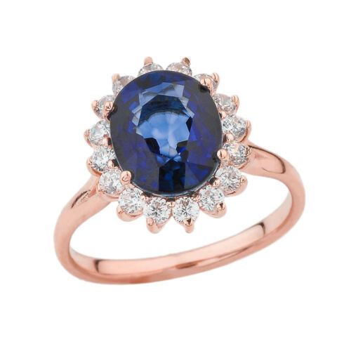 Solid 10K 14k Rose Gold Princess Diana Engagement Ring With Sapphire /& CZ