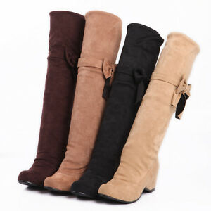 Womens-Shoes-Faux-Suede-Stretchy-Wedge-High-Heels-Knee-Long-Boots-AU-Size-b026