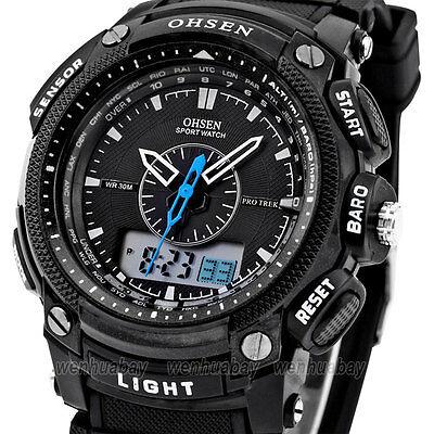 OHSEN Rubber Waterproof Men Boy Digital LCD Alarm Sport Quartz WristWatch A OH12