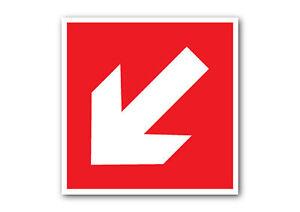 Fire EXIT FRECCIA GIÙ SINISTRA, segno rosso/GLI ADESIVI salute e sicurezza,  Avvertenza, Fuoco | eBay