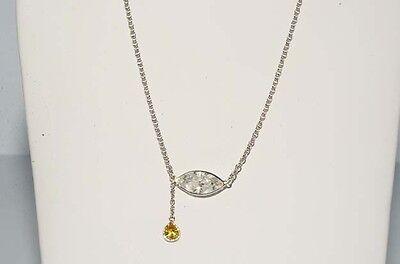 $11,900 1.39CT NATURAL FANCY ORANGISH YELLOW & WHITE DIAMOND TEAR DROP NECKLACE