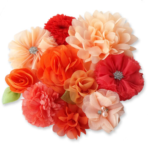 ORANGE PEACH CORAL Fabric Flowers CRAFT Glue//Sew On Embellishment Appliques DIY