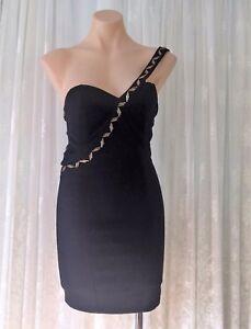 STELLA-MORGAN-SIZE-S-ONE-SHOULDER-BEADED-BLACK-LADDER-DRESS